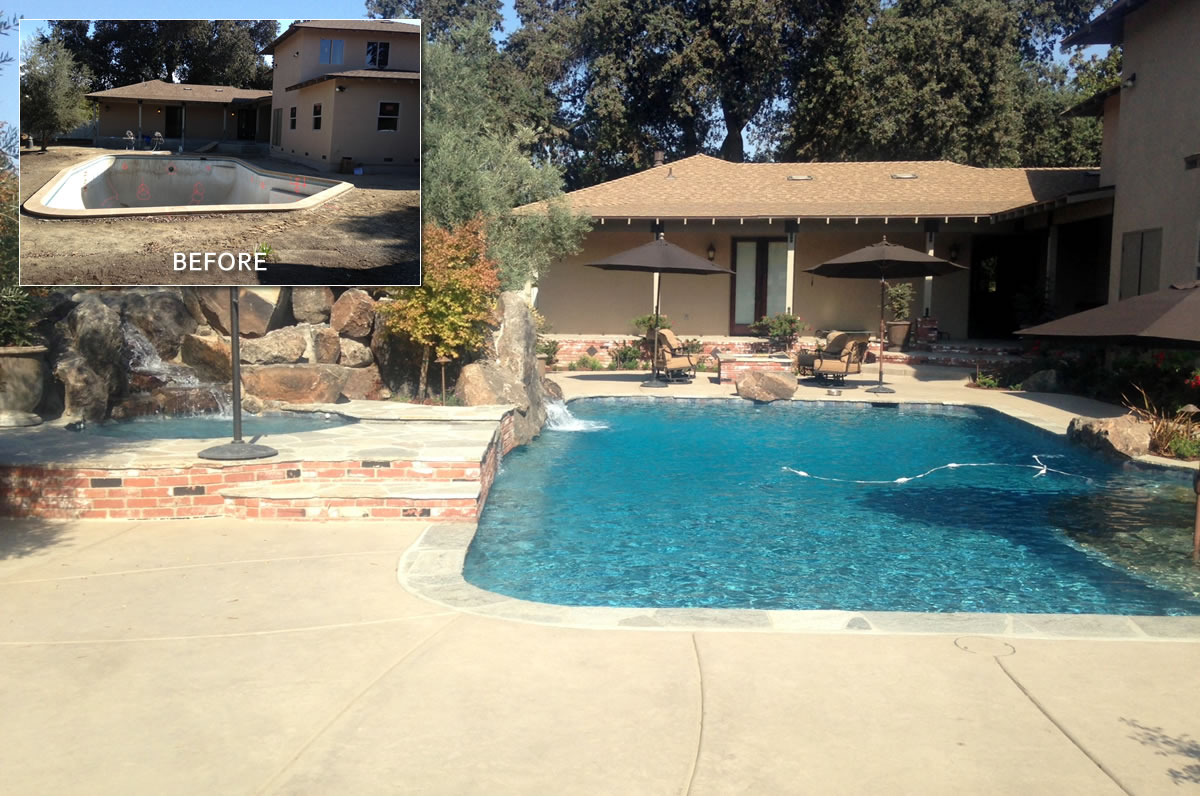 Hanford pool remodel before after paradise pools for Pool redesign