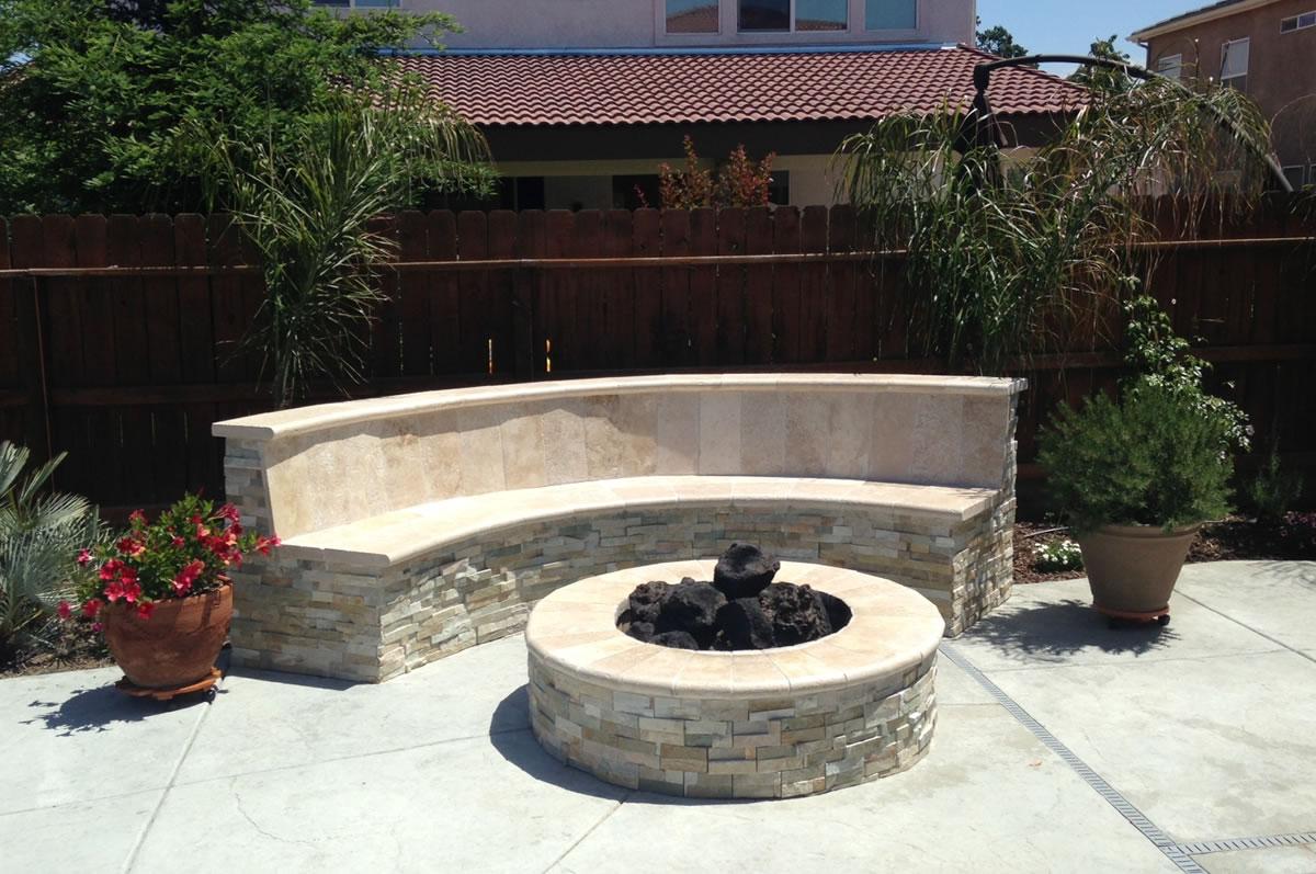 outdoor living options bbq island firepit planter area backyard