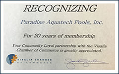 20 year member of the Visalia Chamber of Commerce