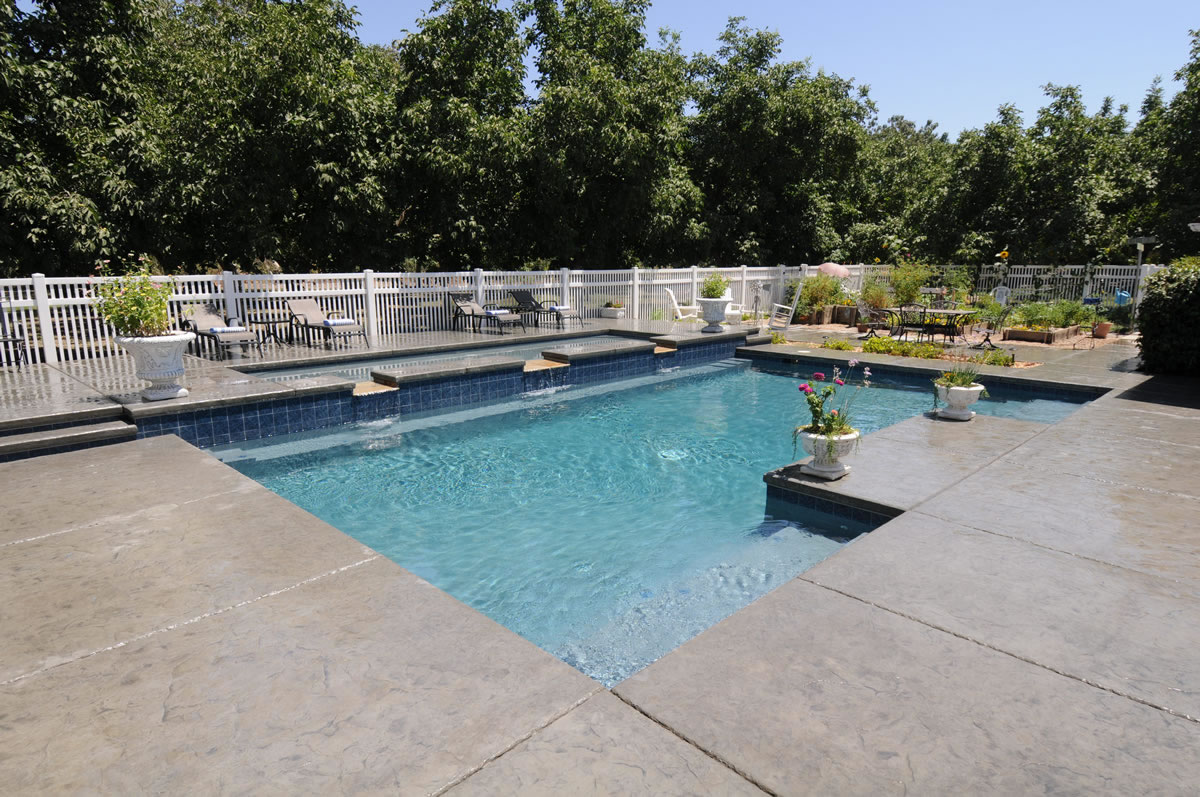 Visalia pool builders with multi tiers swimming pool for Pool builders